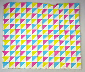 Vtg-Hand-Sewn-BRIGHT-Unfinished-Quilt-Top-Blanket-Sewing-Pastel-Triangle-66-034-x36-034