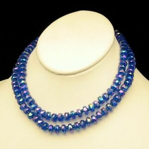 WEST-GERMANY-Blue-Faux-Crystal-Acrylic-AB-Beads-Necklace-Vintage-2-Strands