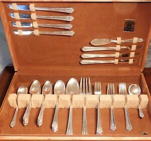 Vtg 1847 Rogers HER MAJESTY 1931 Silverplate Flatware Set Arts Crafts Deco Chest