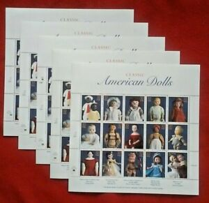 New 75 (5 Souvenir Sheets x 15) CLASSIC AMERICAN DOLLS 32¢ Postage Stamps # 3151