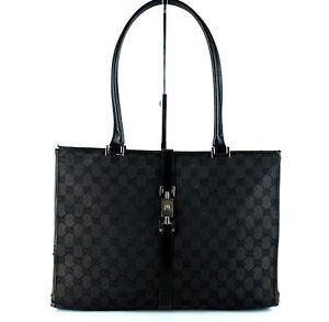3be8a9603d2 Auth GUCCI Black Canvas   Leather Tote Shoulder Bag Purse Italy ...
