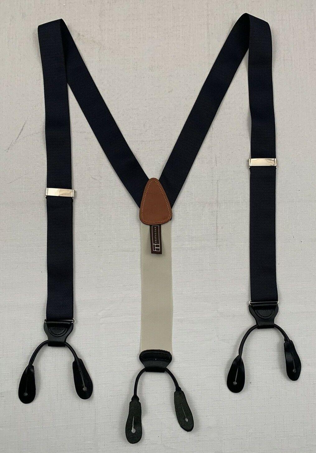 trafalgar blue black leather fittings adjustable woven suspenders braces