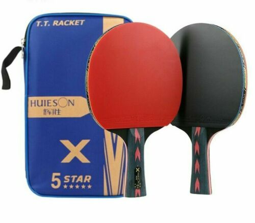 Pingpong Racket Carbon Fiber Table Tennis Double Pimples-in Rubber Teenager Play