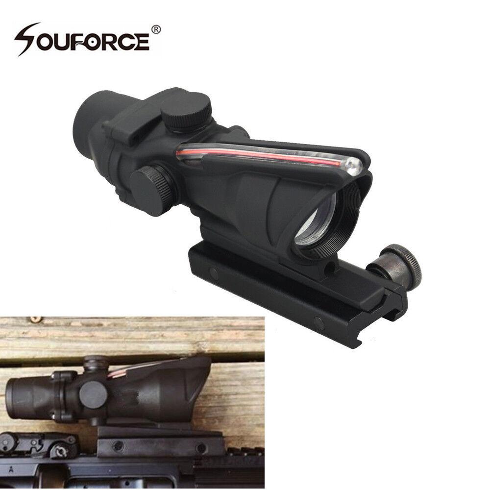 1X30 Tactical Optics Acog Design Red Dot BDC Reticle Fiber Scope Hunting