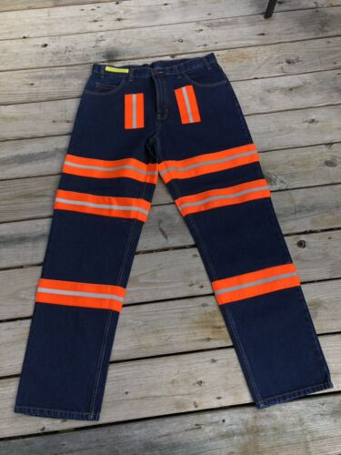 Aramark Jeans 36x34 High Viz Stripes