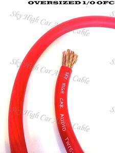1 ft OFC 1/0 Gauge Oversized RED Power Ground Wire Sky High By The Foot