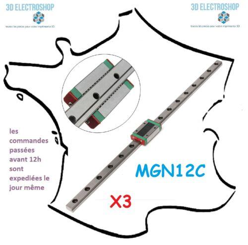 Lot de 3 rails linéaire MGN12C 400mm à billes pour imprimante 3D delta