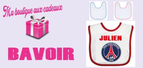 Bavoir personnalisé équipe PSG paris saint germain foot Couleurs aux choix