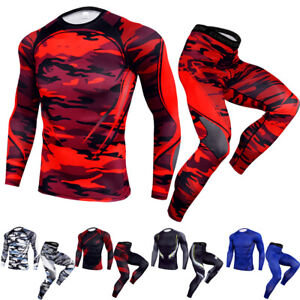 Men-039-s-Compression-Legging-Gym-Workout-Gym-Long-Sleeved-T-Shirt-Quick-dry-Spanex