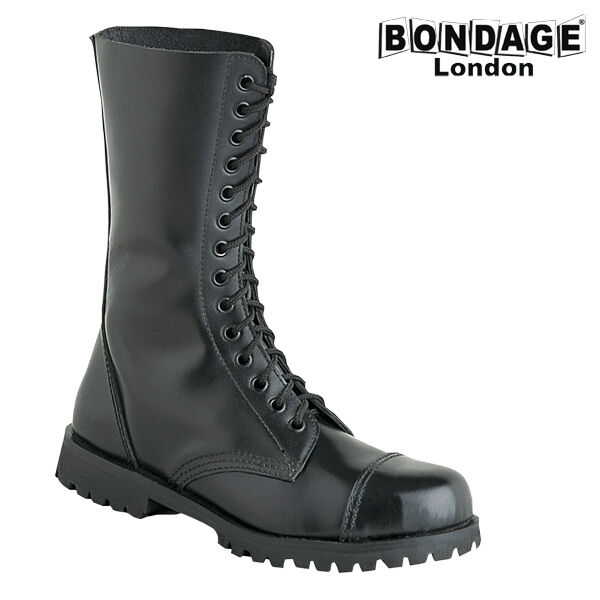 noir LEATHER bottes MILITARY STYLE HIGH QUALITY BONDAGE LONDON PUNK GOTH ARMY