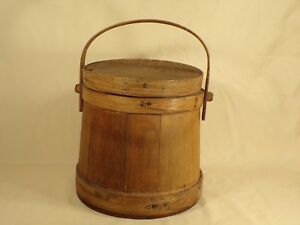 Antique-Wood-Bucket-Pail-Firkin-Style-Farm-Primitive-AAFA-Sugar-Pantry-Bucket