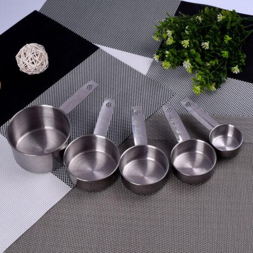 5xUtensil Set Stainless Steel Measuring Cups Scales Flour Scoop Measuring Spoons