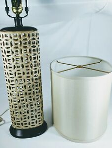 Pair-of-MCM-tan-porcelain-lattice-table-lamps-27-034-high-oval-shades