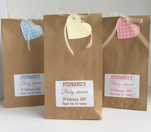 12 x personalised baby shower TREAT wedding gift Bags favour paper brown Vintage
