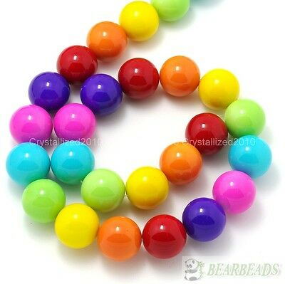 Mixed Czech Opaque Coated Glass Pearl Round Beads 6mm 8mm 10mm 12mm 14mm 16''
