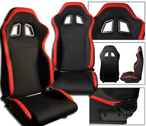 NEW 2 BLACK & RED CLOTH RACING SEATS RECLINABLE ALL CHEVROLET *