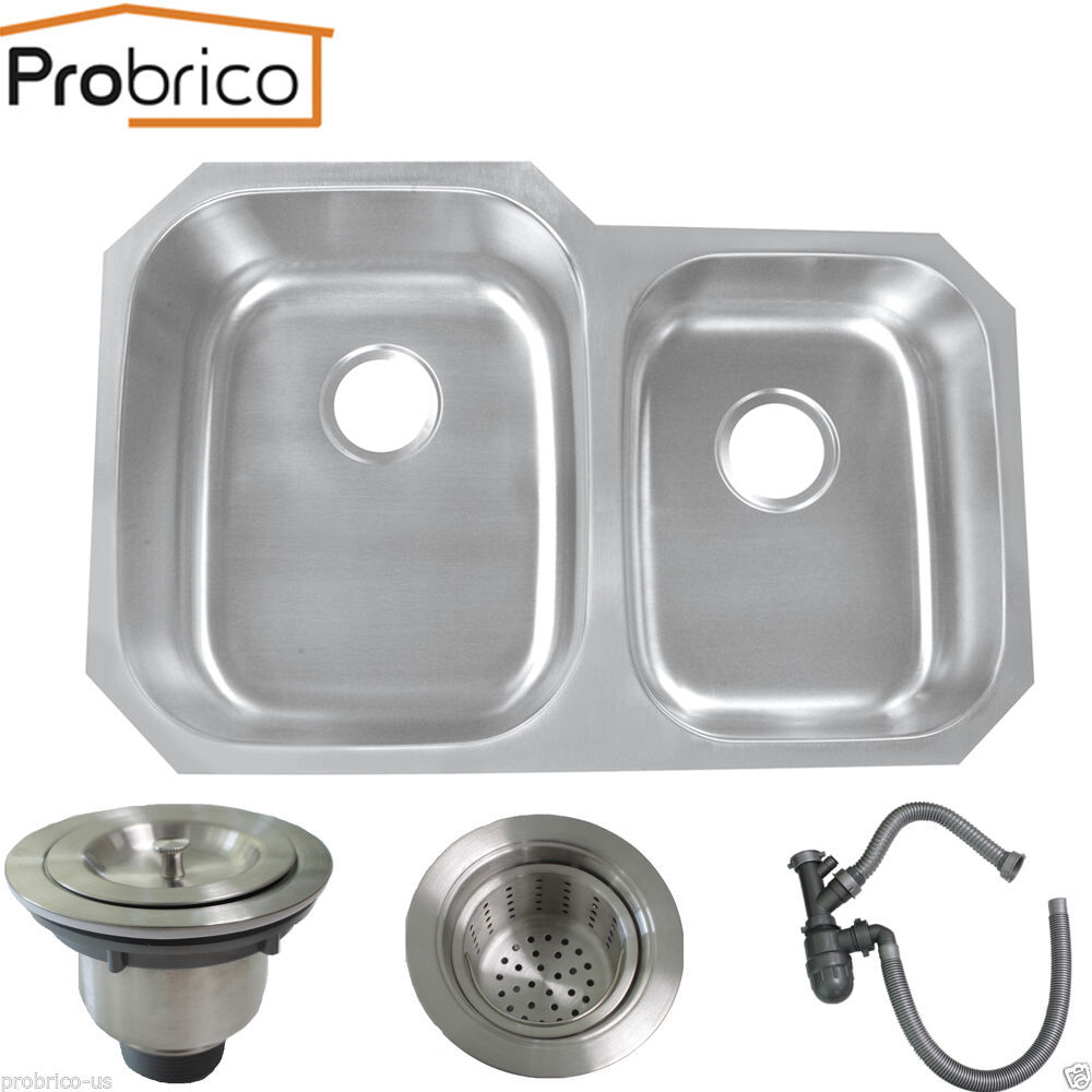 32inch double bowl stainless steel undermount kitchen sink