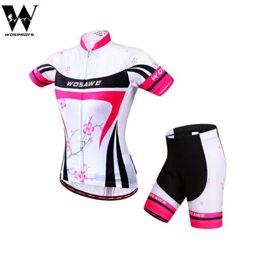 Set Donna Ciclismo Manica Corta Jersey Pantaloncini Gel imbottito traspirante camicie Tops