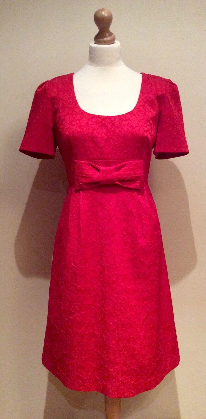 PHASE EIGHT rot BOW DRESS Größe 14 COTTON MIX
