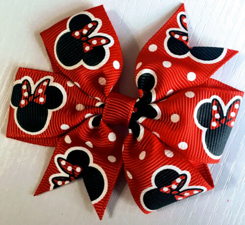 """Minnie Mouse Inspired ribbon Red black hairbows polka dots Hair Bow clip 3 1//2/"""""""
