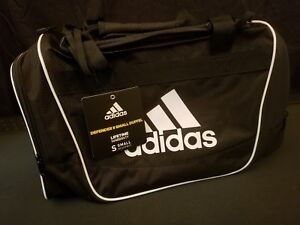 6bf3817c90 Image is loading Adidas-Defender-II-Black-White-Small-Duffel-Bag-