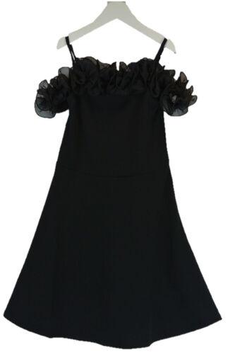 5-12 BLACK GIRLS RUFFLED COLD SHOULDER FRILLED DRESS  AGE: