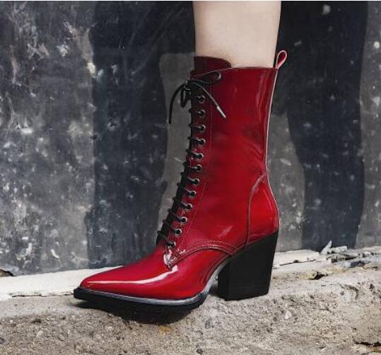 lo último Para Mujer Moda Moda Moda Cuero ptent Puntera en Punta con Cordones botas al Tobillo Zapatos Taco de Bloque CA  compras de moda online