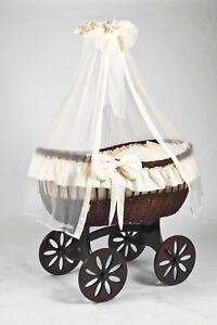 Wicker Crib Moses Basket Stubenwagen Ophelia Mahogany