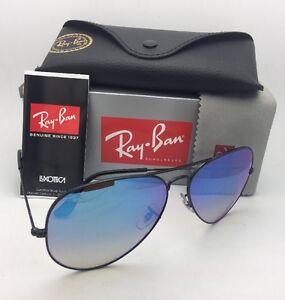 b8a6527dbb New RAY-BAN Sunglasses RB 3025 002 4O 55-14 Black Aviator w Blue ...