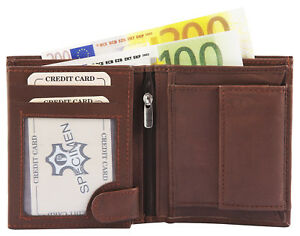 Herren-Geldboerse-Echtleder-Brieftasche-Geldtasche-Echt-Leder-Hochformat-Braun