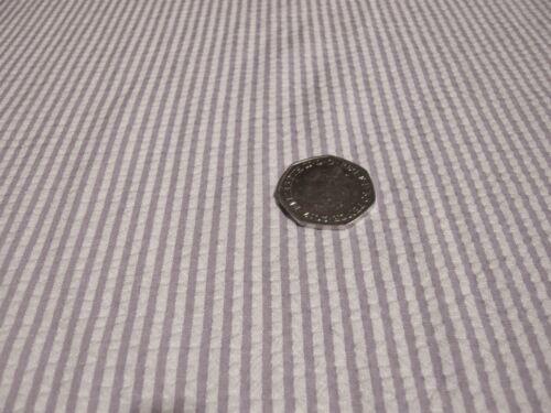 SEERSUCKER STRPE-WHITE//LILAC-DRESS FABRIC-FREE P/&P