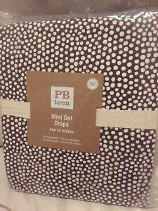 Pottery Barn Teen Mini Dot Drapes Curtains Panel Brown