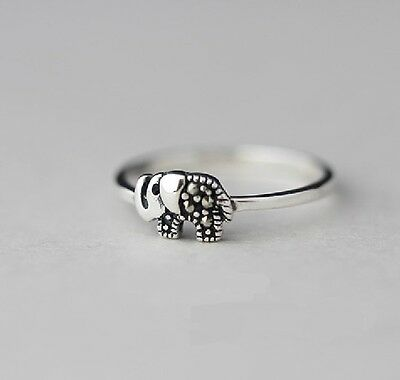 925 Sterling Silver Ring Thai Elephant Size 8