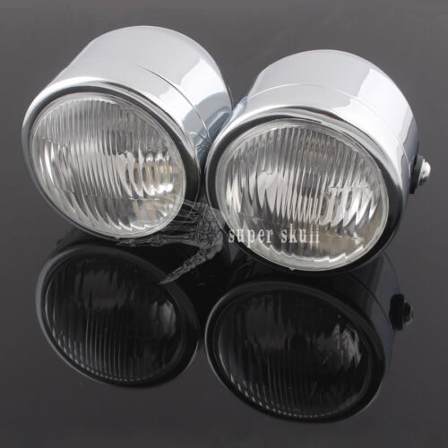 12v Chrome Motorcycle Twin Headlight Double Naked Dominator Fighter Retro