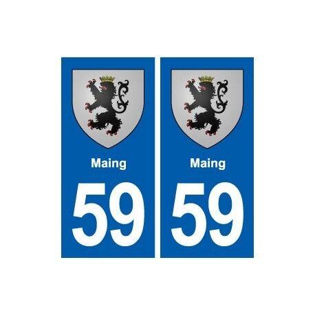 59 Maing blason autocollant plaque stickers ville arrondis