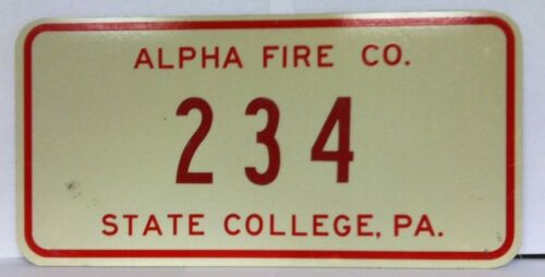 234 PA License Plate Alpha Fire Co. State College