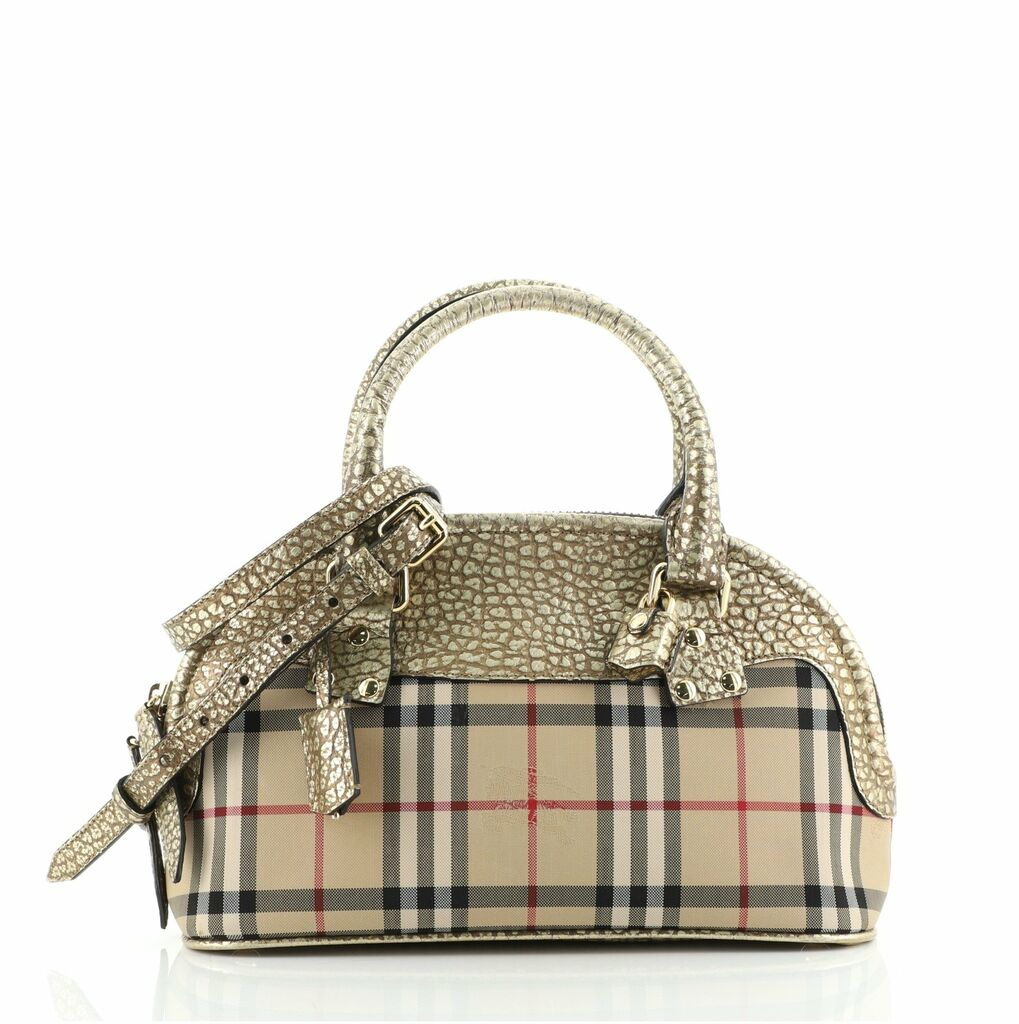 Burberry Bloomsbury Satchel Horseferry Check Canvas with Leather Small  | eBay