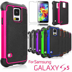 For-Samsung-Galaxy-S5-Shockproof-Hybrid-Rugged-Hard-Case-Tempered-Glass-Film