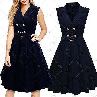 Women Vintage Evening Party Formal Cocktail Ball Groms Wiggle Swing Belted Dres