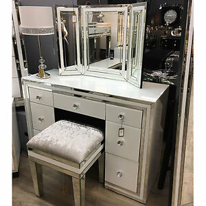 Image Is Loading Madison White Gl Mirrored 7 Drawer Large Dressing