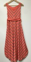 Liz Lange Maternity Dress Striped Pregnancy Coral Orange Pink Stripe Small