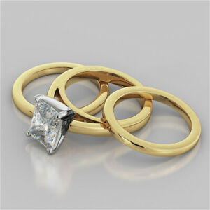 2.00 Ct Emerald Moissanite Engagement Trio Band Set 18K Solid Yellow Gold Size 4