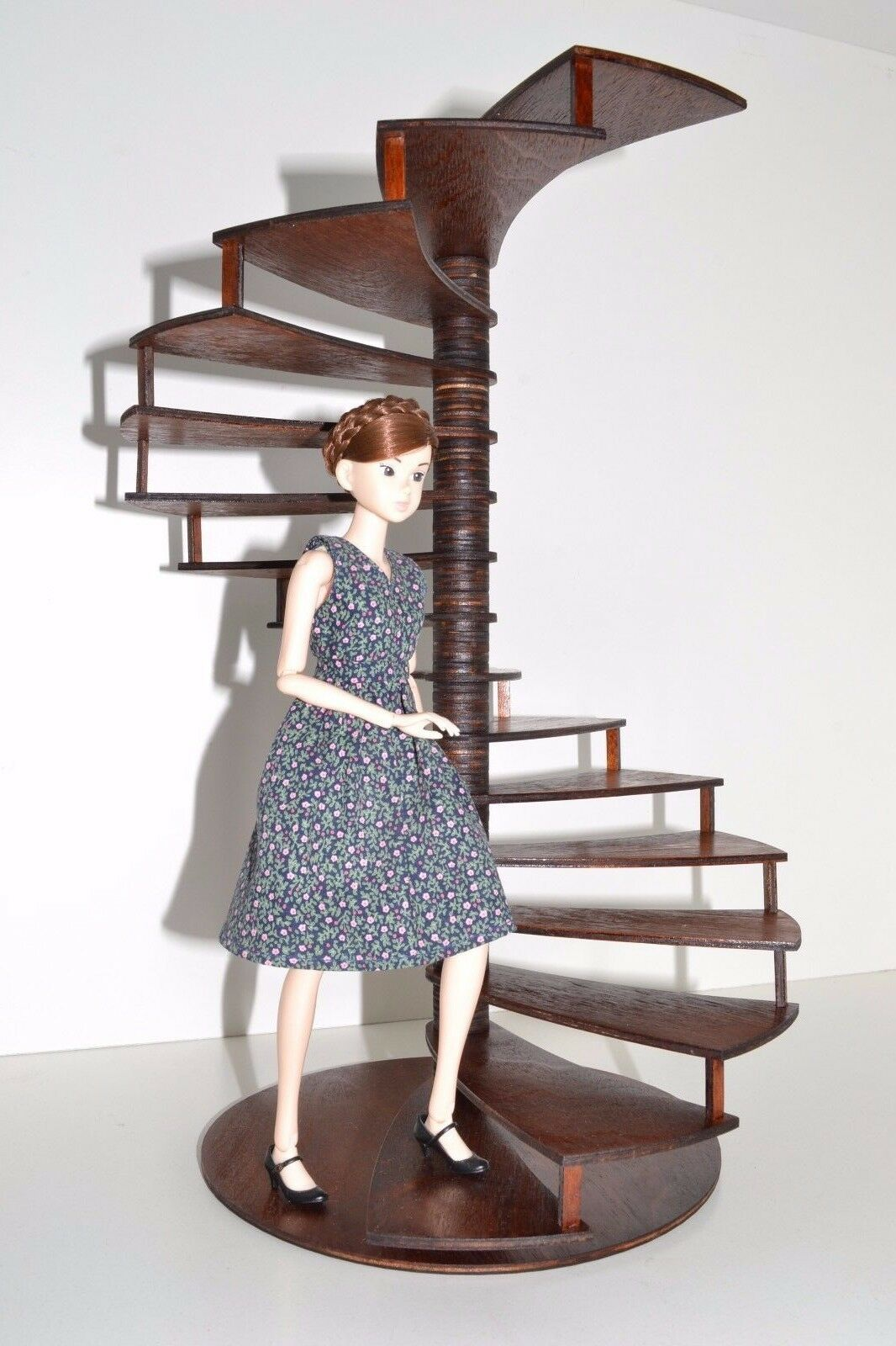 Espiral escalera Escaleras Muebles para muñeca Barbie FR 1 6 12 pulgadas de madera Diorama