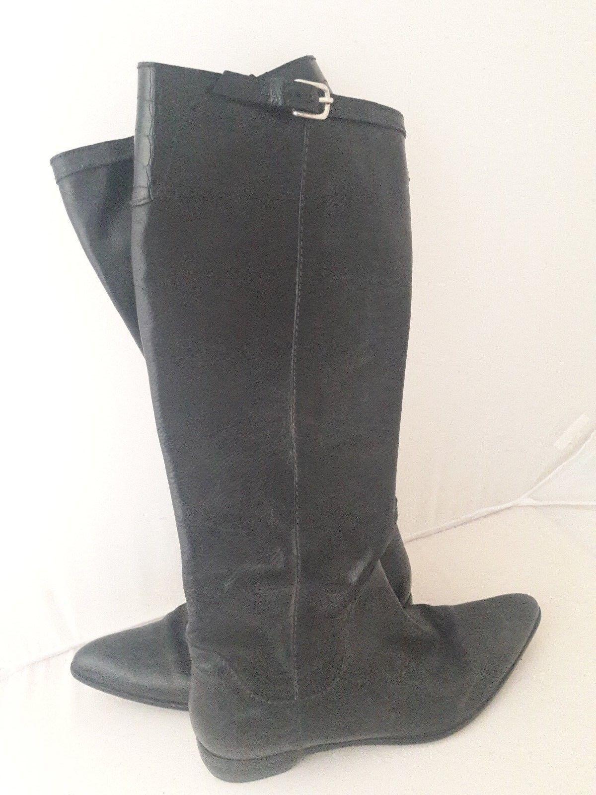 Auth Henry Beguelin Rodilla botas en Cuero Negro Tamaño 37