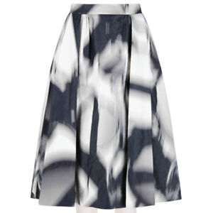 Giles-Deacon-Black-Grey-White-Voluminous-Flared-Skirt-IT44-UK12
