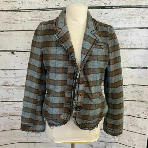 Anthropologie Unfinished plaid jacket Edgy large