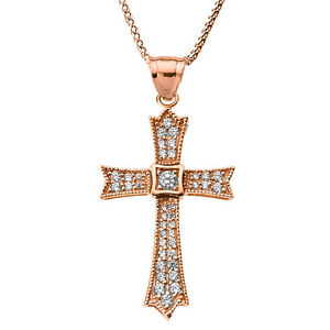 14k rose gold 050ct diamond cross pendant necklace ebay image is loading 14k rose gold 0 50ct diamond cross pendant aloadofball Image collections
