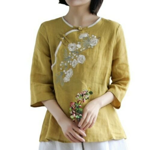Womens 3//4 Sleeve Embroidery Floral Tops T-Shirt Blouse Tees Chinese Fei34