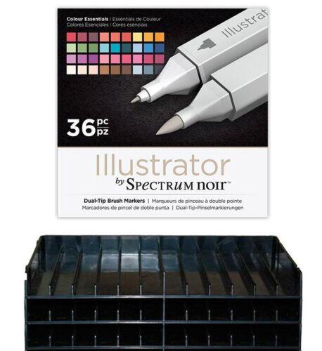 Spectrum Noir New ILLUSTRATOR Blendable Artist Pens 36 Pack Colour Essentials