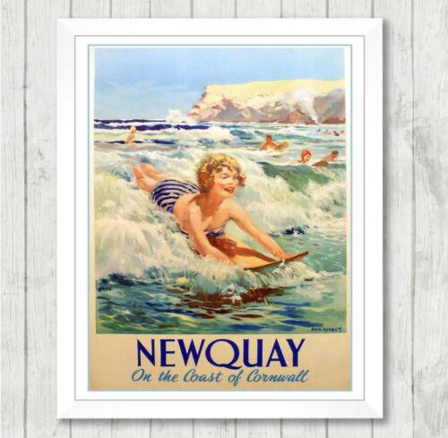 Framed Art Imprimé Vintage NEWQUAY Cornwall vacances PUB Poster Cadeau 075